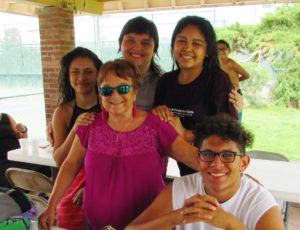 Mary Lou Bauer and Youth at a pool party outing