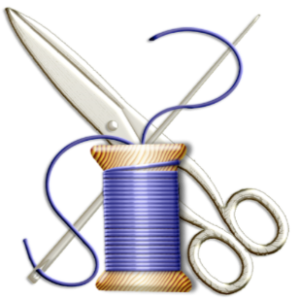 needle, thread and scissors clip art